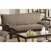 Coaster Two Tone Microfiber Sofa in Brown