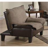 Coaster Two Tone Microfiber Convertible Chair in Brown