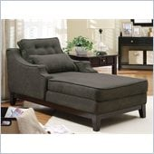 Coaster Upholstered Grey Chaise in Black Finish