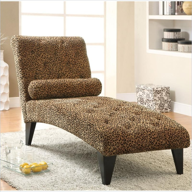 Leopard print living room leopard print armless chaise in for Animal print chaise