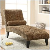 Coaster Leopard Print Living Room Armless Chaise in Black