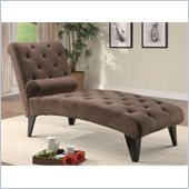 Coaster Soft Chocolate Velour Tufted Chaise in Black Finish