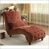 Coaster Accent Seating Upholstered Microfiber Chaise in Red Fabric