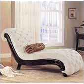 Coaster Accent Seating Traditional Beige Chaise in Cappucino Finish