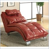 Coaster Casual and Contemporary Living Room Red Chaise