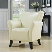 Coaster Accent Seating Contemporary Vinyl Upholstered Chair in Cream