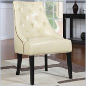 Coaster Upholstered Cream Accent Chair in Cappucino Finish