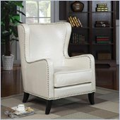 Coaster Wing White Accent Chair with Nailhead Trim in Brown