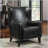 Coaster Wing Accent Chair with Nailhead Trim in Black Finish