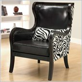 Coaster Exposed Wood Zebra Print Accent Chair in Cappucino