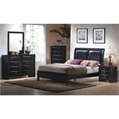 Coaster Briana 3 Piece Bedroom Set in Glossy Black Finish