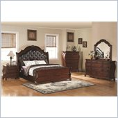 Coaster Priscilla 4 Piece Bedoom Set in Brown Cherry Finish