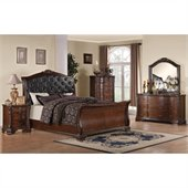 Coaster Maddison 5 Piece Bedoom Set in Warm Brown Cherry Finish