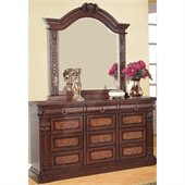 Coaster Grand Prado Dresser and Mirror Set in Warm Cherry Finish