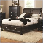 Coaster Valerie Queen Platform Bed in Sheen Black Finish