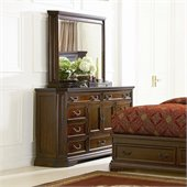 Coaster Foxhill Dresser and Mirror Set in Deep Brown Finish