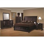 Coaster Sandy Beach 5 Piece Bedroom Set in Cappuccino Finish