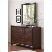 Coaster Simone 8 Drawer Dresser and Mirror Set in Cappuccino Finish