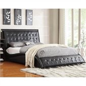Coaster Tully Upholstered Queen Bed in Black Vinyl