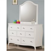 Coaster Dominique 7 Drawer Dresser and Mirror Set in White Finish