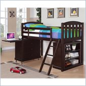 Coaster Anders Loft Bed with Storage Chest and Bookcase Set