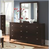 Coaster Calvin 6 Drawer Dresser and Mirror Set in Cappuccino Finish