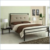 Coaster Leon Upholstered Bed and Attached Nightstand in Black