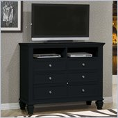 Coaster Sandy Beach Six Drawer Media Chest in Black