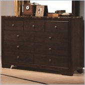 Coaster Conner 9 Drawer Dresser with Faux Marble Top in Walnut