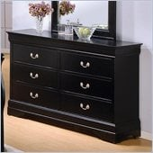 Coaster Louis Philippe 6 Drawer Dresser in Deep Black Finish