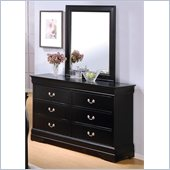 Coaster Louis Philippe 6 Drawer Dresser and Mirror Set in Deep Black