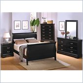 Coaster Louis Philippe 3 Piece Bedroom Set in Deep Black