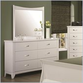 Coaster Eleanor 6 Drawer Dresser and Mirror in Smooth White