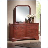 Coaster Louis Philippe Dresser and Mirror Set in Cherry