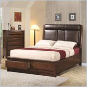 Coaster Hillary and Scottsdale Upholstered Storage Bed in Warm Brown