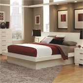Coaster Jessica Platform Bed with Rail Seating and Lights in White
