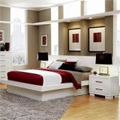 Coaster Jessica Pier Platform Bed with Rail Seating and Lights in White