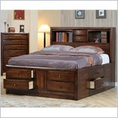 Coaster Hillary and Scottsdale Storage Bookcase Bed 3 Piece Bedroom Set in Warm Brown