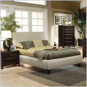 Coaster Phoenix Upholstered Bed 3 Piece Bedroom Set in Tan