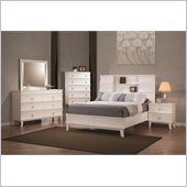 Coaster Holland Bookcase Bed 4 Piece Bedroom Set in White