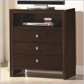 Coaster Serenity 3 Drawer Media Chest in Rich Merlot Finish