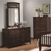 Coaster Tia Double Dresser and Mirror Set in Warm Cappuccino Finish