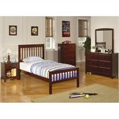 Coaster Parker Slat 4 Piece Bedroom In Deep Dark Cappuccino Finish