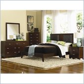 Coaster Tiffany 4 Piece Bedroom in Deep Brown Finish