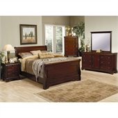 Coaster Versailles 4 Piece Bedroom in Deep Mahogany