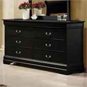 Coaster Louis Philippe 6 Drawer Double Dresser in Black
