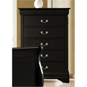 Coaster Louis Philippe Five Drawer Chest in Black