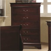 Coaster Louis Philippe Five Drawer Chest in Rich Cherry