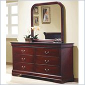 Coaster Louis Philippe Dresser and Mirror Set in Rich Cherry