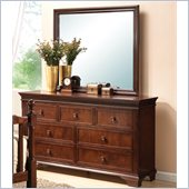Coaster Montgomery Dresser and Mirror Set in Brown Cherry